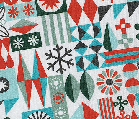 Santa's Workshop* (Red & Greens) || geometric star stars starburst snowflake snowflakes grid christmas holiday stripes