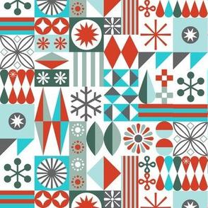 Santa's Workshop* (Red & Greens) || geometric star stars starburst snowflake snowflakes grid christmas holiday stripes