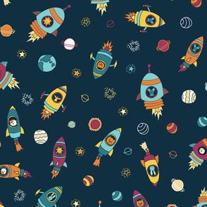Space animals on dark blue