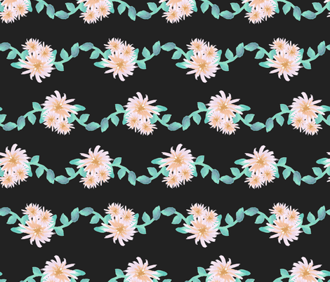 Watercolor flower garland on black fabric by sandra_hutter_designs on Spoonflower - custom fabric