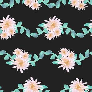 Watercolor flower garland on black