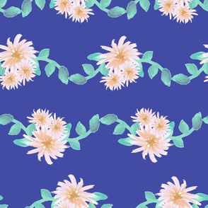 Watercolor flower garland on blue