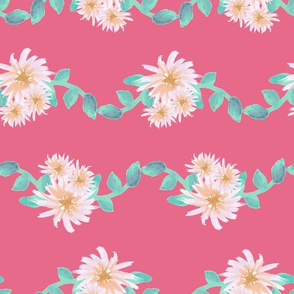 Watercolor flower garland on pink
