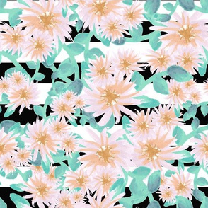 Watercolor flowers on a black and white striped background