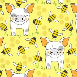 spotted-pigs-with-bees-on-yellow