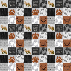 "2"" Little Man Fox Quilt - Rust, Grey and Black - Adventure Awaits"