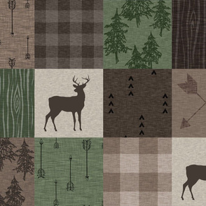 Woods Quilt - Hunter Green and Brown - Deer and Arrows