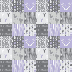 """3"""" Patchwork Deer - lilac and greys"""