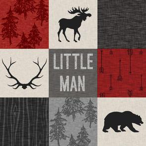 Little man quilt - red, cream, grey and black - woodland animals
