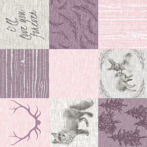 Love you Forever Woodland Quilt - Pink and Purple - ROTATED