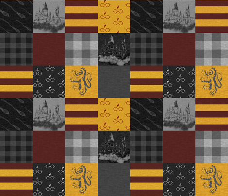 """3"""" Wizard Quilt - Burgandy And Gold fabric by sugarpinedesign on Spoonflower - custom fabric"""