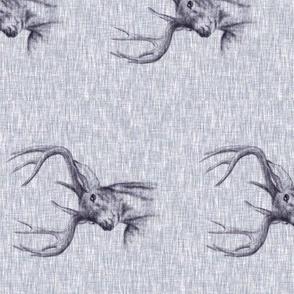 Bucks on Linen - Navy - rotated