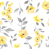 "15"" watercolor floral - poppy - yellow and grey"