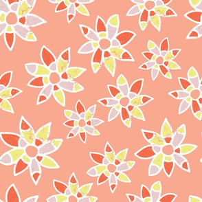Abstract orange coral pink lime yellow white flowers on a peach background. Distressed look.