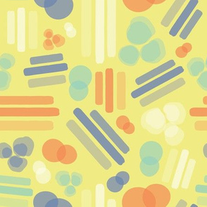 Abstract geometric shapes. Stripes rectangles dots bubbles circles orange coral white blue on a lime yellow background. Layered geometric shapes.