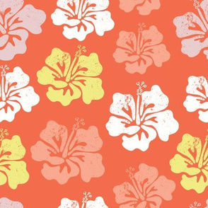 Hibiscus flower silhouettes. Yellow, coral and white Hawaiian hibiscus flowers on an orange background. Vintage distressed look.