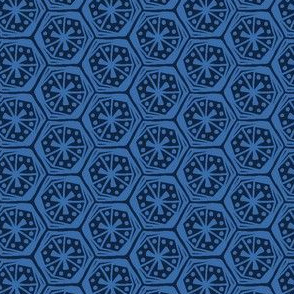 Geometric Hexagons Indigo