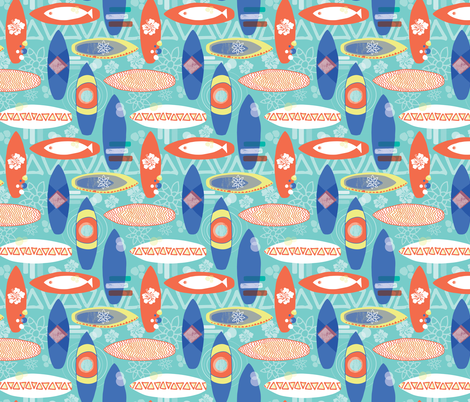 Surfboards blue orange yellow white on an aqua blue background. Triangles hibiscus flowers fishes. Hawaiian print. Distressed look. fabric by sandra_hutter_designs on Spoonflower - custom fabric