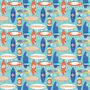 Surfboards blue orange yellow white on an aqua blue background. Triangles hibiscus flowers fishes. Hawaiian print. Distressed look.