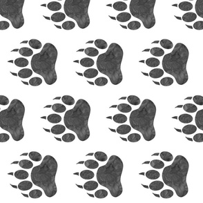 """5"""" Bear Paws - grey on white - rotated"""