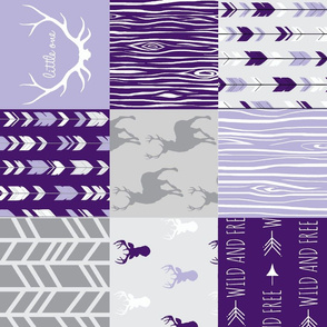Wholecloth Patchwork Deer - purple and grey - rotated