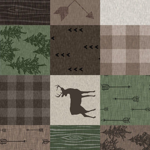 Wood Quilt - Hunter Green and Brown - ROTATED