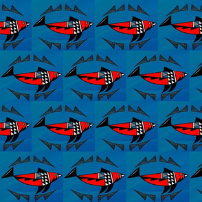 Native American Salmon Red on Blue