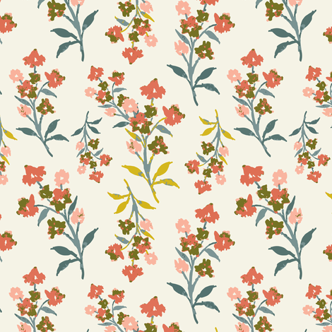 Elodie Blooms Coral fabric by mintpeony on Spoonflower - custom fabric