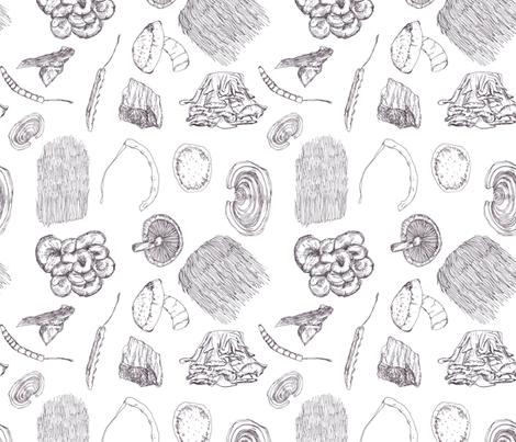 Mushrooms: Black and White fabric by kelliemaree on Spoonflower - custom fabric