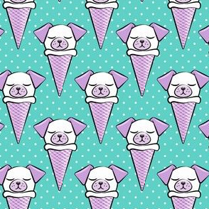 dog cones - icecream cones dogs - purple on teal with polka dots