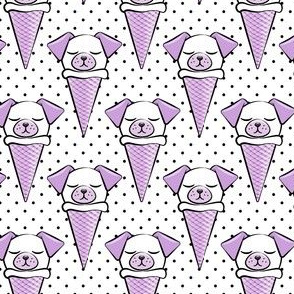 dog cones - icecream cones dogs - purple on black polka dots