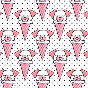dog cones - icecream cones dogs - pink on black polka dots