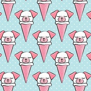 dog cones - icecream cones dogs - pink on blue with polka dots