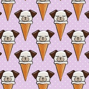 dog cones - icecream cones dogs - purple with  polka dots