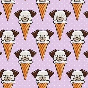 dog cones - icecream cones dogs - purple with  polka dots