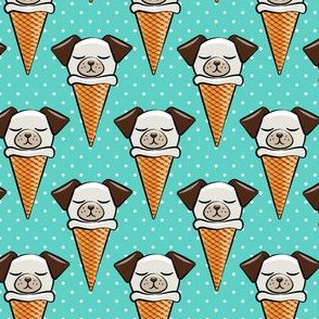 dog cones - icecream cones dogs - on teal