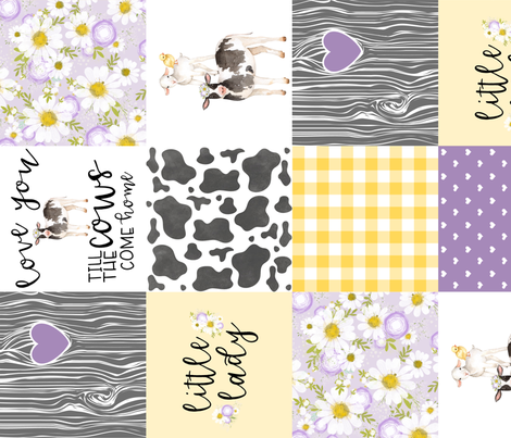 Little Lady//Love you till the cows come home Yellow/Purple - Wholecloth Cheater Quilt - Rotated fabric by longdogcustomdesigns on Spoonflower - custom fabric
