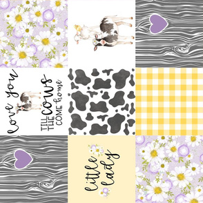 Little Lady//Love you till the cows come home Yellow/Purple - Wholecloth Cheater Quilt - Rotated