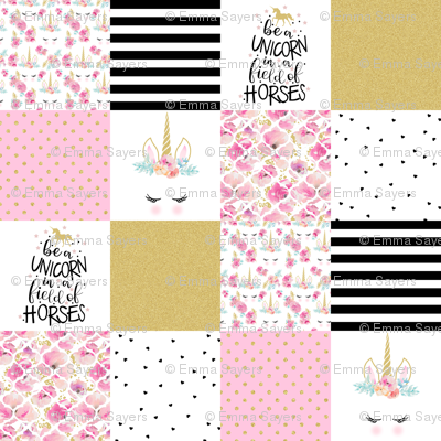 Modified Pink Be a Unicorn - Wholecloth Cheater Quilt