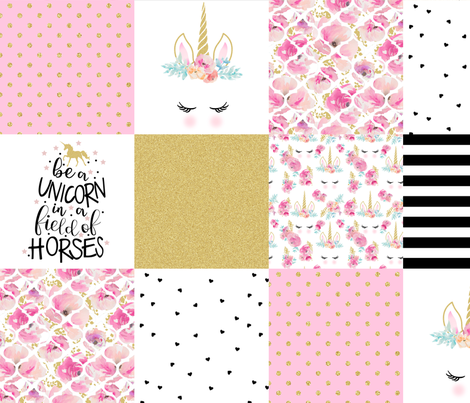 Modified Pink Be a Unicorn - Wholecloth Cheater Quilt  fabric by longdogcustomdesigns on Spoonflower - custom fabric