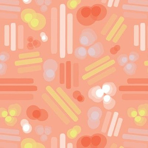 Abstract geometric shapes. Stripes rectangles dots bubbles circles orange coral white pink yellow on a peach background. Layered geometric shapes.