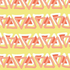 Irregular coral peach orange white doodle triangles in a row on a  lime yellow background. Layered triangles.