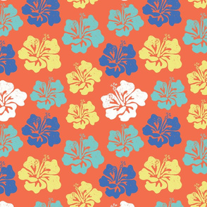Hibiscus flower silhouettes. Yellow, royal blue and aqua blue Hawaiian hibiscus flowers on an orange background. Vintage inspired.