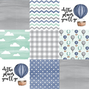 Hot Air Balloon//Oh the places you'll go Navy/Mint/Grey - Wholecloth Cheater Quilt