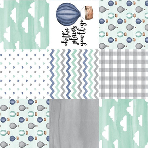 Hot Air Balloon//Oh the places you'll go Navy/Mint/Grey - Wholecloth Cheater Quilt - Rotated