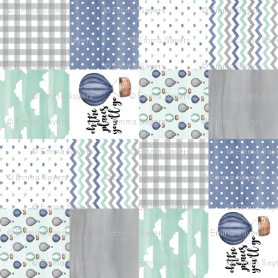3 inch Hot Air Balloon//Oh the places you'll go Navy/Mint/Grey - Wholecloth Cheater Quilt - Rotated