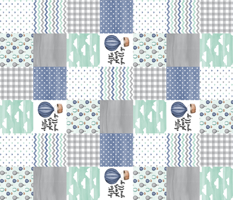 3 inch Hot Air Balloon//Oh the places you'll go Navy/Mint/Grey - Wholecloth Cheater Quilt - Rotated fabric by longdogcustomdesigns on Spoonflower - custom fabric