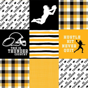 Football//Hustle Hit Never Quit Thunder - Wholecloth Cheater Quilt