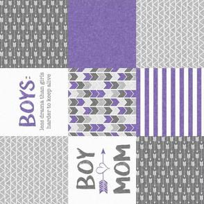 Purple Boy Mom - Wholecloth Cheater Quilt - Rotated