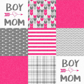 Pink Boy Mom - Wholecloth Cheater Quilt
